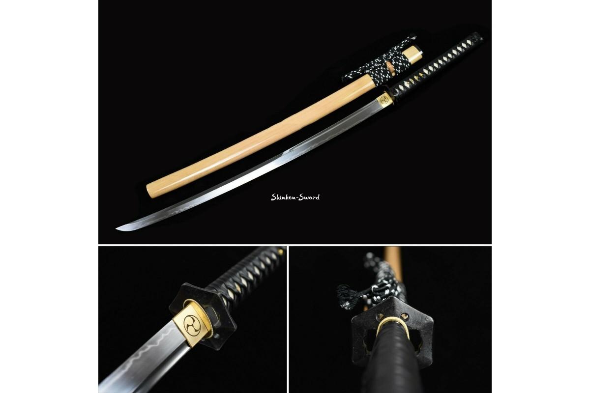 Clay Tempered Japanese Samurai Katana Sword T10 Steel Unokubi Zukuri Razor Sharp Blade