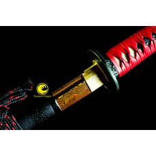 Battle Ready Razor Sharp Japanese Katana Folded Steel Red Blade Unokubi Zukuri Full Tang Shinke