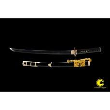 Handmade Battle Ready Clay Tempered T10 Steel Japanese Wakizashi Samurai Tachi Sword Full Tang Razor Sharp Blade