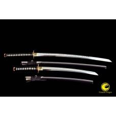 Battle Ready Clay Tempered T10 Folded Kobuse Steel Blade Japanese Katana Wakizashi Sword Set