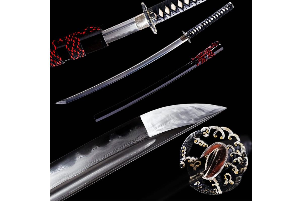 Handmade Clay Tempered Japanese Katana Samurai Sword Kobuse Folded Steel Sharp Blade