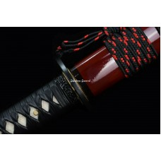 Handmade Japanese Katana Sword Clay Tempered T10 Steel Razor Sharp Full Tang Blade