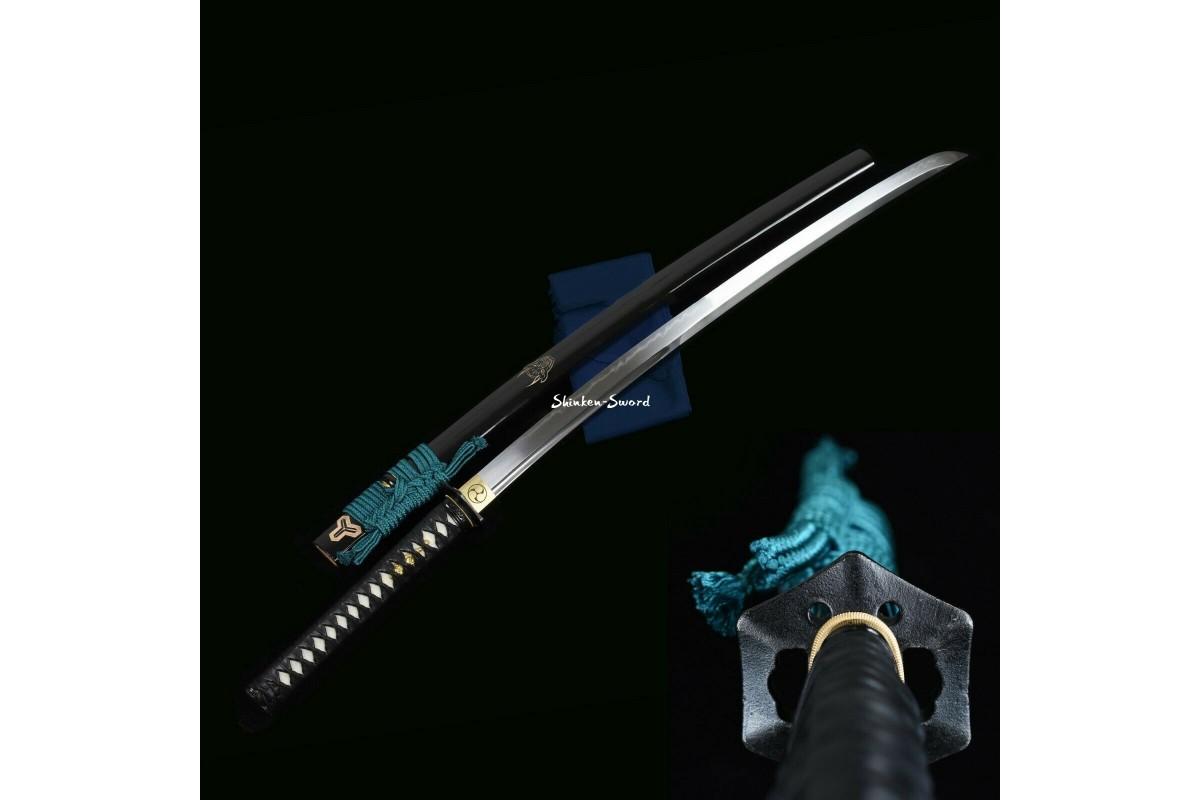 Japanese Samurai Katana Sword Clay Tempered T10 Steel Razor Sharp Full Tang Blade