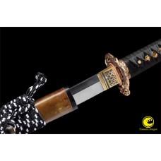 Japanese Battle Ready Katana Samurai 1075 Folded Steel Sword Copper Wrap Saya