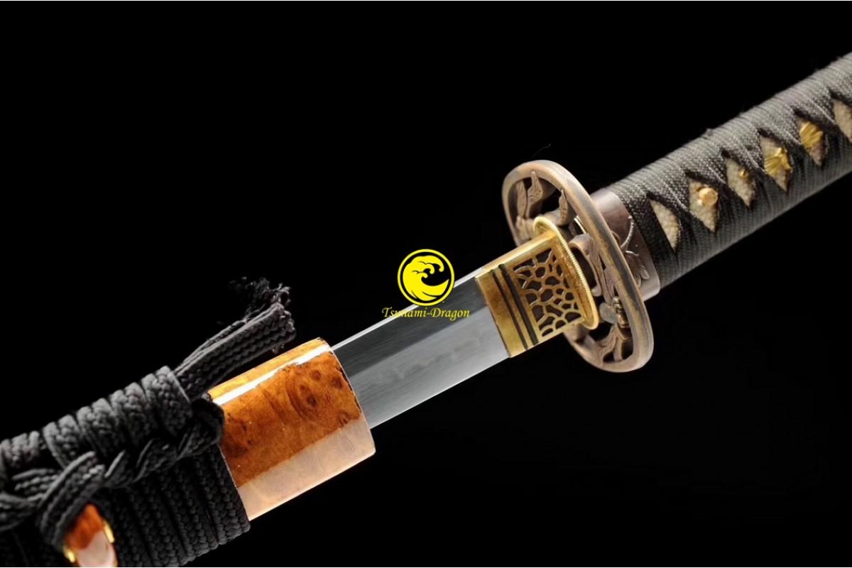 Japanese Battle Ready Clay Tempered Samurai Katana 1095 Choji Hamom Blade Sword Sharp Full Tang